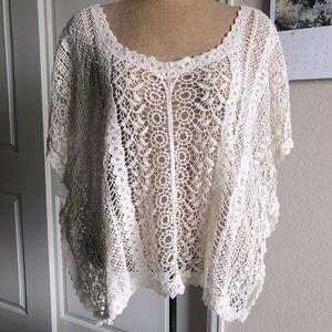 NWOT Love Stitch Knit Crochet Top L